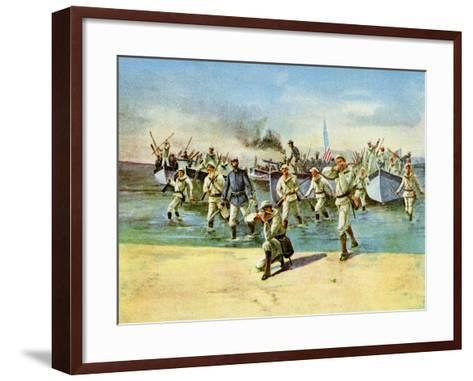 Landing Ammunition for the Insurgents, under Fire, Spanish-American War, Cuba, 1898--Framed Art Print