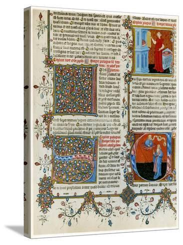 Illuminated Initial Letters with Scenes from the Life of St Jerome, Late 14th Century--Stretched Canvas Print