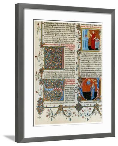 Illuminated Initial Letters with Scenes from the Life of St Jerome, Late 14th Century--Framed Art Print
