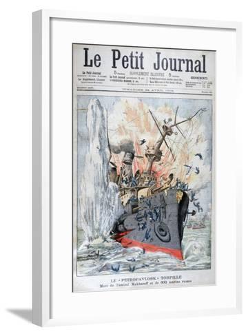 Sinking of the Russian Battleship 'Petropavlosk, Russo-Japanese War, 13th April 1904--Framed Art Print