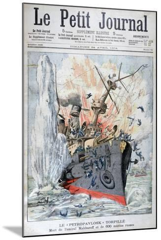 Sinking of the Russian Battleship 'Petropavlosk, Russo-Japanese War, 13th April 1904--Mounted Giclee Print