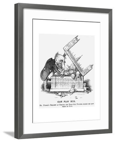 Our Play Box. Mr Punch's Delight at Finding His Dear Old Puppets Where He Left Them in July, 1865--Framed Art Print