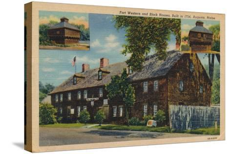 Fort Western and Block Houses, Augusta, Maine, 1920S--Stretched Canvas Print