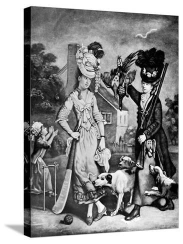 Miss Wicket and Miss Trigger, 1770-John Collet-Stretched Canvas Print