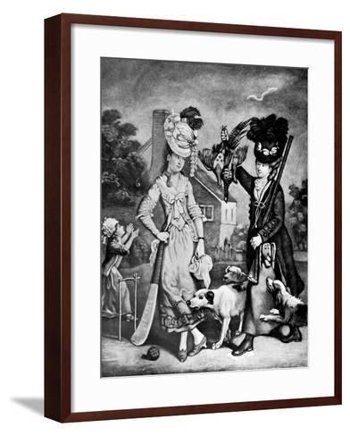 Miss Wicket and Miss Trigger, 1770-John Collet-Framed Art Print