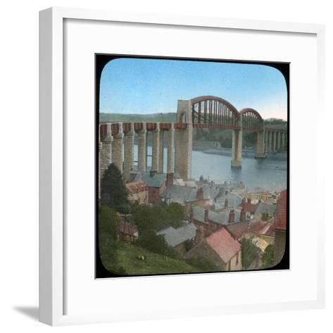 Royal Albert Bridge, Saltash, Cornwall, Late 19th or Early 20th Century--Framed Art Print