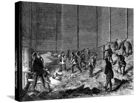 Storing Ice in Insulated Sheds at Charles's Ice Store, Chelsea, London, 1861--Stretched Canvas Print