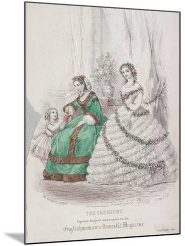 Two Women and a Child Wearing the Latest Fashions, 1861-Jules David-Mounted Giclee Print