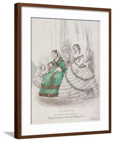 Two Women and a Child Wearing the Latest Fashions, 1861-Jules David-Framed Art Print