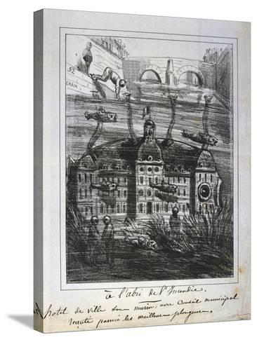Cartoon Proposal to Rebuild the Hotel De Ville under Water to Prevent Fire, Paris Commune, 1871--Stretched Canvas Print
