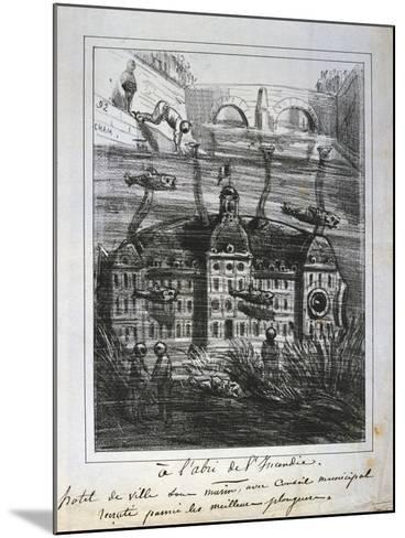 Cartoon Proposal to Rebuild the Hotel De Ville under Water to Prevent Fire, Paris Commune, 1871--Mounted Giclee Print