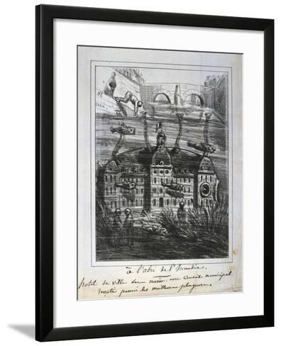Cartoon Proposal to Rebuild the Hotel De Ville under Water to Prevent Fire, Paris Commune, 1871--Framed Art Print