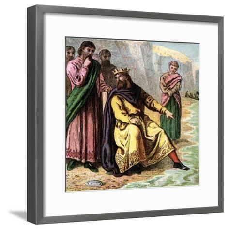 Canute and His Courtiers, 11th Century--Framed Art Print