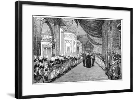 The Queen's Visit at the Opening of the Indian and Colonial Exhibition, London, 1886--Framed Art Print