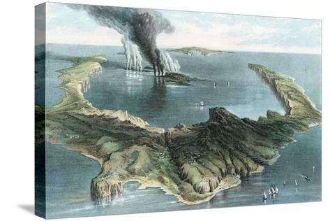 Volcano on the Island of Thera (Santorin) in Eruption, 1866--Stretched Canvas Print