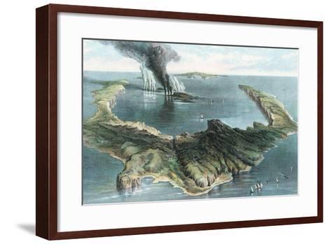Volcano on the Island of Thera (Santorin) in Eruption, 1866--Framed Art Print