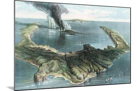 Volcano on the Island of Thera (Santorin) in Eruption, 1866--Mounted Giclee Print
