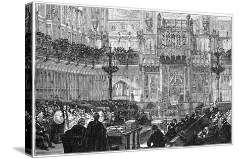 The Bishop of Peterborough Addressing the House of Lords, Mid-Late 19th Century--Stretched Canvas Print