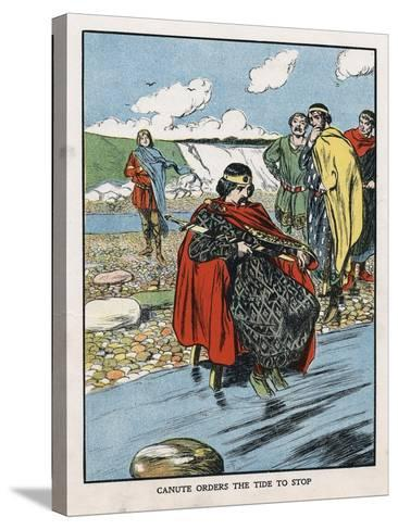 King Canute Trying to Turn Back the Tide, Early 11th Century (Early 20th Centur)--Stretched Canvas Print