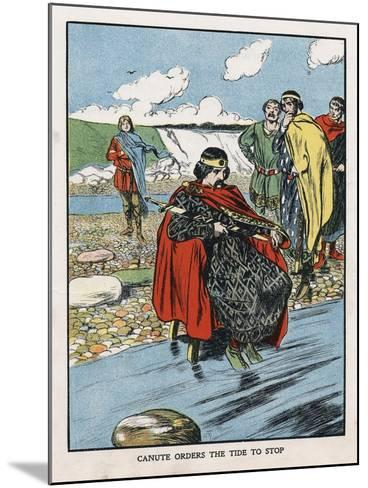 King Canute Trying to Turn Back the Tide, Early 11th Century (Early 20th Centur)--Mounted Giclee Print