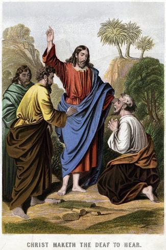 Christ Maketh the Deaf to Hear, 1860-Kronheim & Co-Stretched Canvas Print
