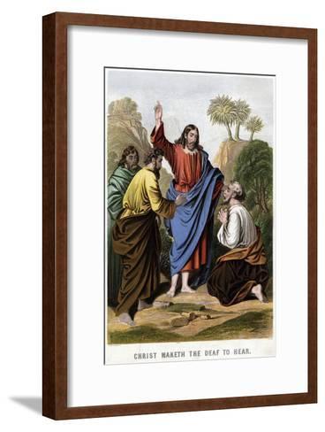 Christ Maketh the Deaf to Hear, 1860-Kronheim & Co-Framed Art Print