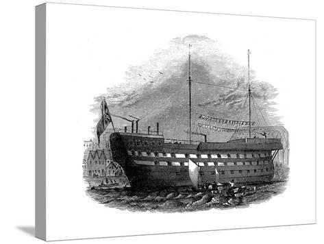 Prison Hulk 'Warrior' at Woolwich, London, 1848--Stretched Canvas Print