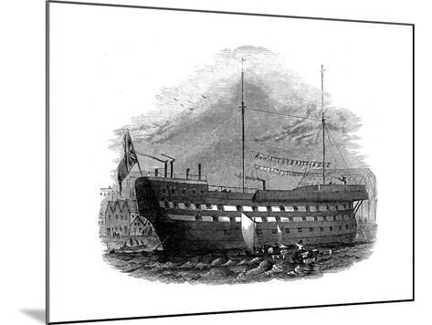 Prison Hulk 'Warrior' at Woolwich, London, 1848--Mounted Giclee Print