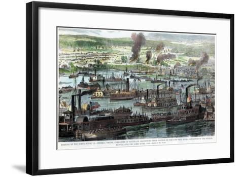 Burning of the White House, Virginia, American Civil War, 26 June 1862--Framed Art Print