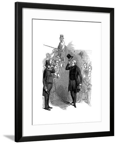 Robert Peel, British Statesman, Arriving at the House of Commons, London, January, 1846--Framed Art Print