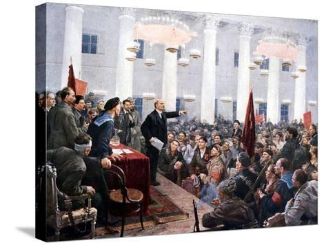 Lenin Haranguing Deputies of the 2nd Soviet Congress, Smolny Palace, St Petersburg, 1917--Stretched Canvas Print