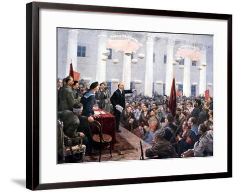 Lenin Haranguing Deputies of the 2nd Soviet Congress, Smolny Palace, St Petersburg, 1917--Framed Art Print