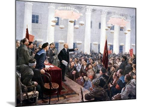 Lenin Haranguing Deputies of the 2nd Soviet Congress, Smolny Palace, St Petersburg, 1917--Mounted Giclee Print