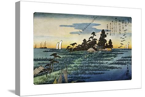 Haneda No Rakugan (Geese Flying Home at Haneda), 1830S-Ando Hiroshige-Stretched Canvas Print