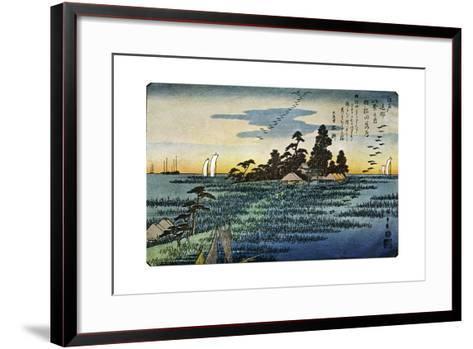Haneda No Rakugan (Geese Flying Home at Haneda), 1830S-Ando Hiroshige-Framed Art Print