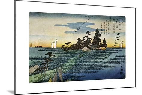 Haneda No Rakugan (Geese Flying Home at Haneda), 1830S-Ando Hiroshige-Mounted Giclee Print