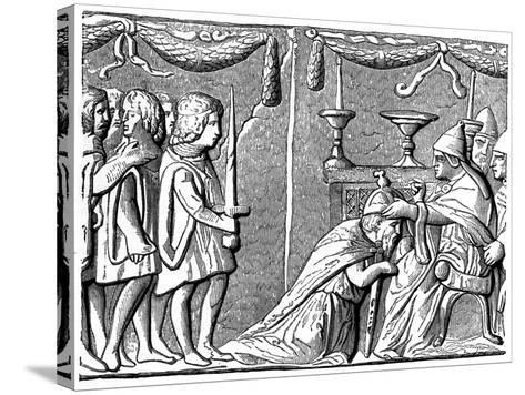 Coronation of the Emperor Sigismund by Pope Eugene Iv, 15th Century--Stretched Canvas Print