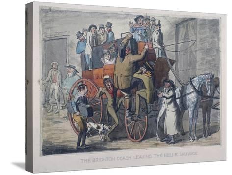 Brighton Coach Leaving Th Belle Sauvage Inn, London, C1840--Stretched Canvas Print