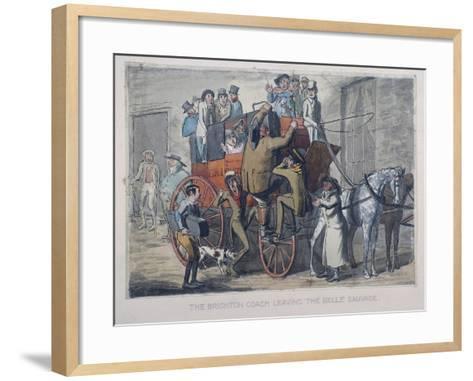 Brighton Coach Leaving Th Belle Sauvage Inn, London, C1840--Framed Art Print