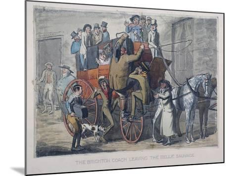 Brighton Coach Leaving Th Belle Sauvage Inn, London, C1840--Mounted Giclee Print