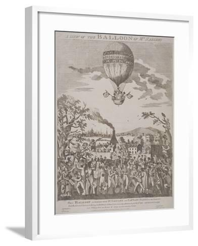 View of James Sadler's Balloon over Mermaid Gardens, Hackney, London, 1811--Framed Art Print