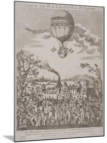 View of James Sadler's Balloon over Mermaid Gardens, Hackney, London, 1811--Mounted Giclee Print