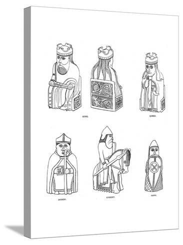 Bone Chessmen of Scandinavian Design, 12th or 13th Century--Stretched Canvas Print