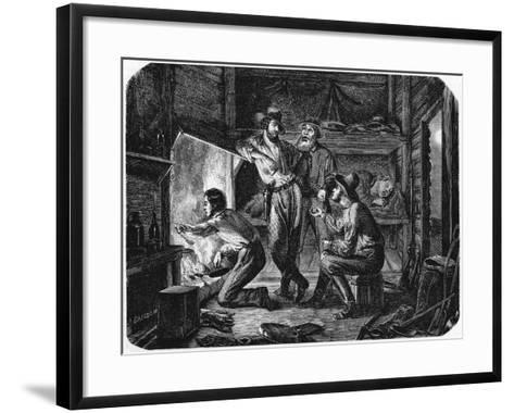 Miners in the Californian Gold Fields Relaxing in their Log Cabin at Night, 1853--Framed Art Print