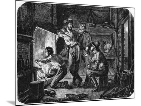 Miners in the Californian Gold Fields Relaxing in their Log Cabin at Night, 1853--Mounted Giclee Print
