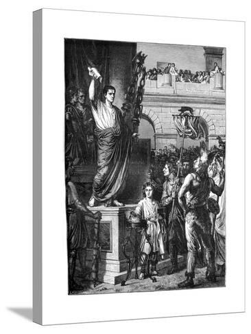 Augustus Presents the Constitution, Lyon, France, 10 BC-Emile Thomas-Stretched Canvas Print
