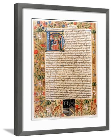 Henry VII's First Act of Parliament with an Initial Portrait of the King, Late 1480S--Framed Art Print