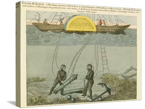 Divers Salvaging Guns from the Seabed, C1855--Stretched Canvas Print