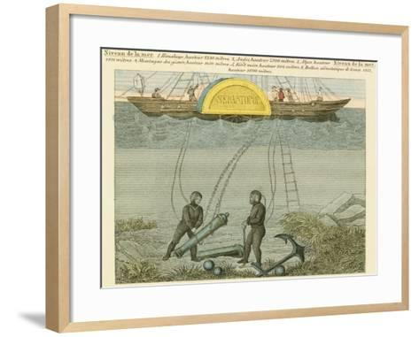 Divers Salvaging Guns from the Seabed, C1855--Framed Art Print