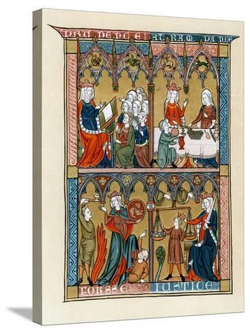 Prudence, Temperance, Fortitude and Justice, 1290-1300--Stretched Canvas Print
